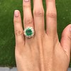 5.34ctw Emerald and Old Mine Cut Diamond Cluster Ring 12