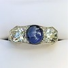 5.49ctw Edwardian Sapphire and Old European Cut Diamond Trilogy Ring 12