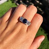 5.49ctw Edwardian Sapphire and Old European Cut Diamond Trilogy Ring 18