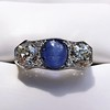 5.49ctw Edwardian Sapphire and Old European Cut Diamond Trilogy Ring 26