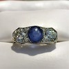 5.49ctw Edwardian Sapphire and Old European Cut Diamond Trilogy Ring 5