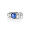 5.49ctw Edwardian Sapphire and Old European Cut Diamond Trilogy Ring 1