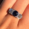 5.49ctw Edwardian Sapphire and Old European Cut Diamond Trilogy Ring 17