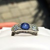 5.49ctw Edwardian Sapphire and Old European Cut Diamond Trilogy Ring 7