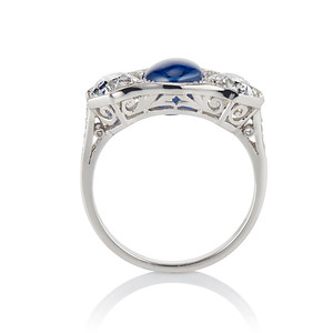 5.49ctw Edwardian Sapphire and Old European Cut Diamond Trilogy Ring
