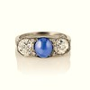 5.49ctw Edwardian Sapphire and Old European Cut Diamond Trilogy Ring 0