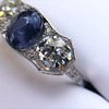 5.49ctw Edwardian Sapphire and Old European Cut Diamond Trilogy Ring 14