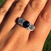 5.49ctw Edwardian Sapphire and Old European Cut Diamond Trilogy Ring 13