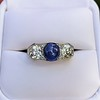 5.49ctw Edwardian Sapphire and Old European Cut Diamond Trilogy Ring 9