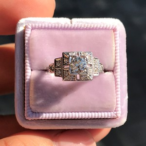 0 58ctw Old European Cut Diamond Art Deco Illusion Ring