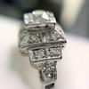 0.58ctw Old European Cut Diamond Art Deco Illusion Ring 8