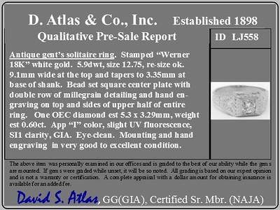.60ct (est) Antique Old European Cut Diamond Engraved Man's Ring
