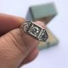 .60ct (est) Antique Old European Cut Diamond Engraved Man's Ring 11