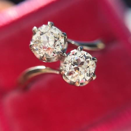 .60ctw Old European Cut Diamond Bypass Ring