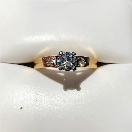 .61ctw Vintage OEC and Pear Diamond Trilogy Ring