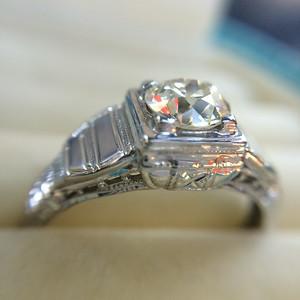 .62ct Vintage Step Style Old European Cut Diamond Ring