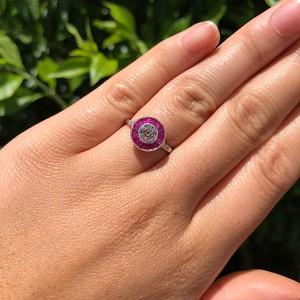 .63ct Vintage Old European Cut Diamond Target Ring
