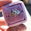 .71ct Vintage Old European Cut Diamond Heart Motif Ring, GIA J VS 21