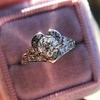 .71ct Vintage Old European Cut Diamond Heart Motif Ring, GIA J VS 8