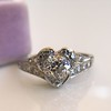 .71ct Vintage Old European Cut Diamond Heart Motif Ring, GIA J VS 5