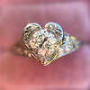 .71ct Vintage Old European Cut Diamond Heart Motif Ring, GIA J VS 13