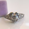 .71ct Vintage Old European Cut Diamond Heart Motif Ring, GIA J VS 11