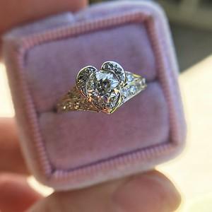 .71ct Vintage Old European Cut Diamond Heart Motif Ring