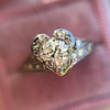 .71ct Vintage Old European Cut Diamond Heart Motif Ring, GIA J VS 15