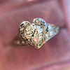 .71ct Vintage Old European Cut Diamond Heart Motif Ring, GIA J VS 17