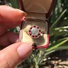 .72ct Antique Old European Cut Diamond Coral & Onyx Halo Ring 24