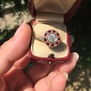 .72ct Antique Old European Cut Diamond Coral & Onyx Halo Ring 8