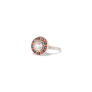 .72ct Antique Old European Cut Diamond Coral & Onyx Halo Ring