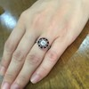 .72ct Antique Old European Cut Diamond Coral & Onyx Halo Ring 14