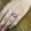 .72ct Antique Old European Cut Diamond Coral & Onyx Halo Ring 20