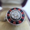 .72ct Antique Old European Cut Diamond Coral & Onyx Halo Ring 5