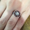 .72ct Antique Old European Cut Diamond Coral & Onyx Halo Ring 22