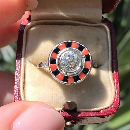 .72ct Antique Old European Cut Diamond Coral & Onyx Halo Ring