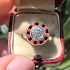 .72ct Antique Old European Cut Diamond Coral & Onyx Halo Ring 9
