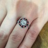 .72ct Antique Old European Cut Diamond Coral & Onyx Halo Ring 21