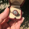 .72ct Antique Old European Cut Diamond Coral & Onyx Halo Ring 7