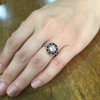 .72ct Antique Old European Cut Diamond Coral & Onyx Halo Ring 13