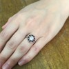 .72ct Antique Old European Cut Diamond Coral & Onyx Halo Ring 15
