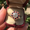 .72ct Antique Old European Cut Diamond Coral & Onyx Halo Ring 16
