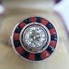 .72ct Antique Old European Cut Diamond Coral & Onyx Halo Ring 4