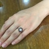 .72ct Antique Old European Cut Diamond Coral & Onyx Halo Ring 17