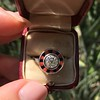 .72ct Antique Old European Cut Diamond Coral & Onyx Halo Ring 10