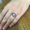 .72ct Antique Old European Cut Diamond Coral & Onyx Halo Ring 18