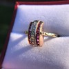 0.72ctw Retro Art Diamond and Burmese Ruby Dome Ring 17