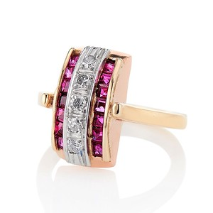 0.72ctw Retro Art Diamond and Burmese Ruby Dome Ring