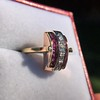 0.72ctw Retro Art Diamond and Burmese Ruby Dome Ring 16